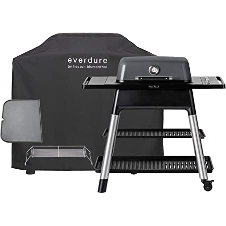 Everdure Force by Heston Blumenthal 2-Burner Liquid Portable Propane Gas Grill, Cover and Accessory Bundle: Die-Cast Aluminum Body, Graphite
