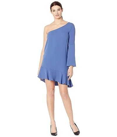 American Rose Betty One Shoulder Ruffle Dress (Bahama Blue) Women