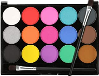 Face Paint Kit for Kids 15 Colors Non-Toxic Professional Palette Quality Body & Face Painting Makeup Kit Set Professional Quality Paint Supplies for Halloween, Christmas, Carnival, Party