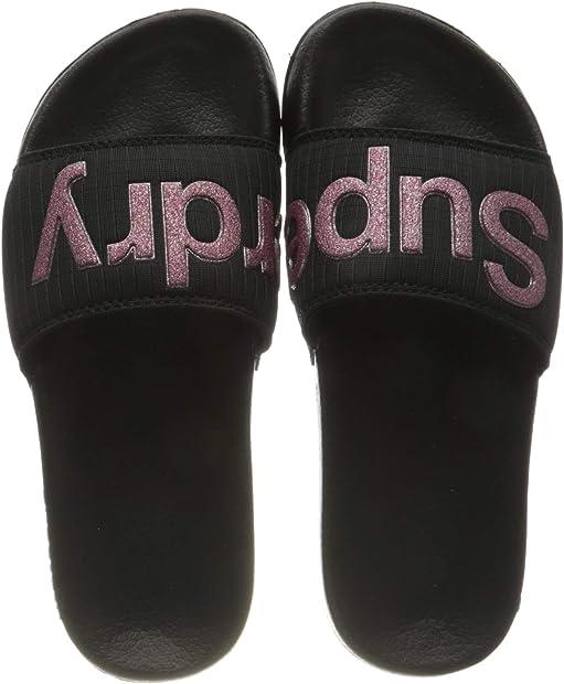 Superdry pool slide, sandali. donna  colore: nero e rosa glitter WF310029A