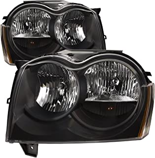 PERDE Black Housing Halogen Headlights Compatible with Jeep Grand Cherokee 2005-2007 Includes Left Driver and Right Passenger Side Headlamps