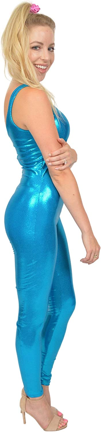 Stretch is Comfort Womens and Girls Turquoise Metallic Unitard Doll Costume