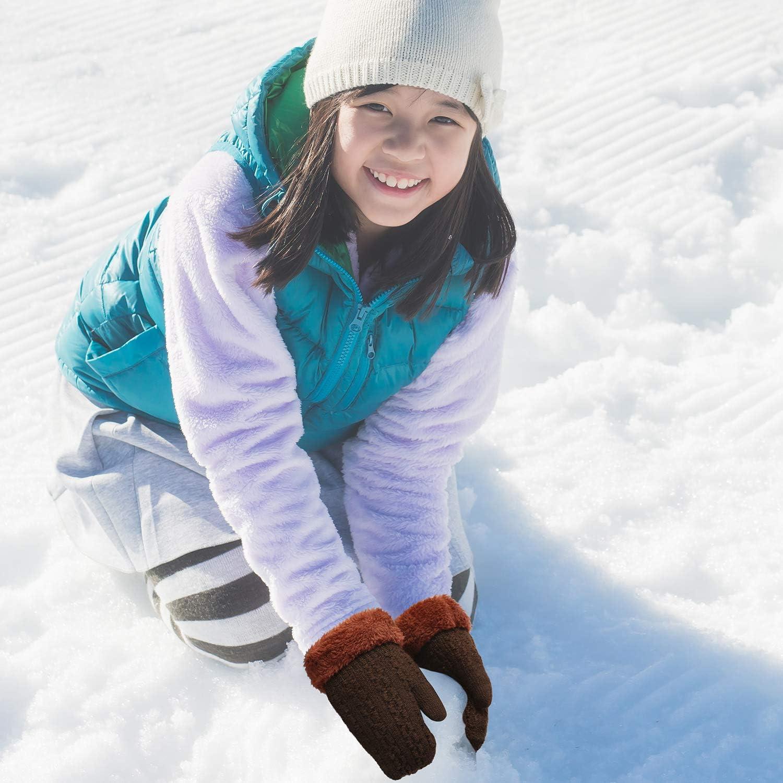 4 Pairs Winter Kids Knit Mittens Thicken Plush Warm Woolen Gloves with String (Black, Coffee, Dark Gray, Blue)