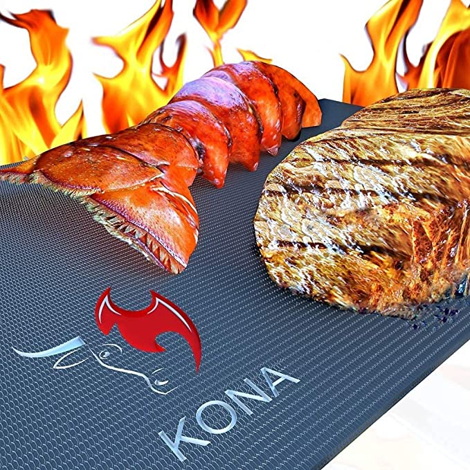 Kona Best BBQ Grill Mat – The Only Mat with the Peak Temperature Of 600 Fahrenheit
