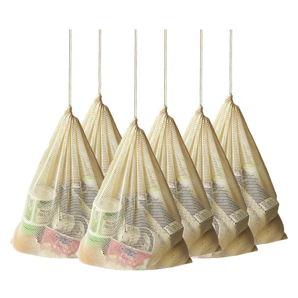 GoldLiiver Bolsa Red Compra Bolsa Red Malla Bolsa Malla Compra Tote Net Tejido Reutilizable Bolsa Plegable algodón orgánico de la Bolsa de Malla 6 pcs(Beige,16 x 12.5 Pulgadas): Amazon.es: Hogar