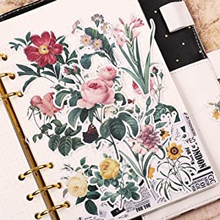 Everjoy Vintage Retro Flower Planner Stickers, DIY Decorative Embellishments, Adhesive Garden Wildflowers for Scrapbook, Journal, Card Making, Letters, Calendar – 52 Pieces
