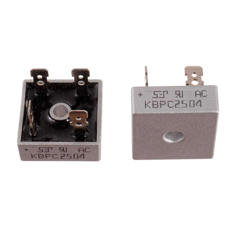 BOJACK KBPC2504 25A 400V Diodos rectificadores de puente Axial KBPC2504 25 amperios Diodos de silicio electrónicos de onda completa de 400 voltios (paquete de 2 piezas)