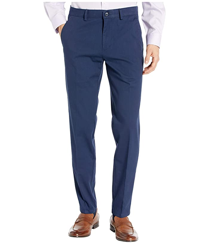 Kenneth Cole Reaction  Four-Way Stretch Solid Twill Slim Fit Flat Front Chino (Navy) Mens Dress Pants