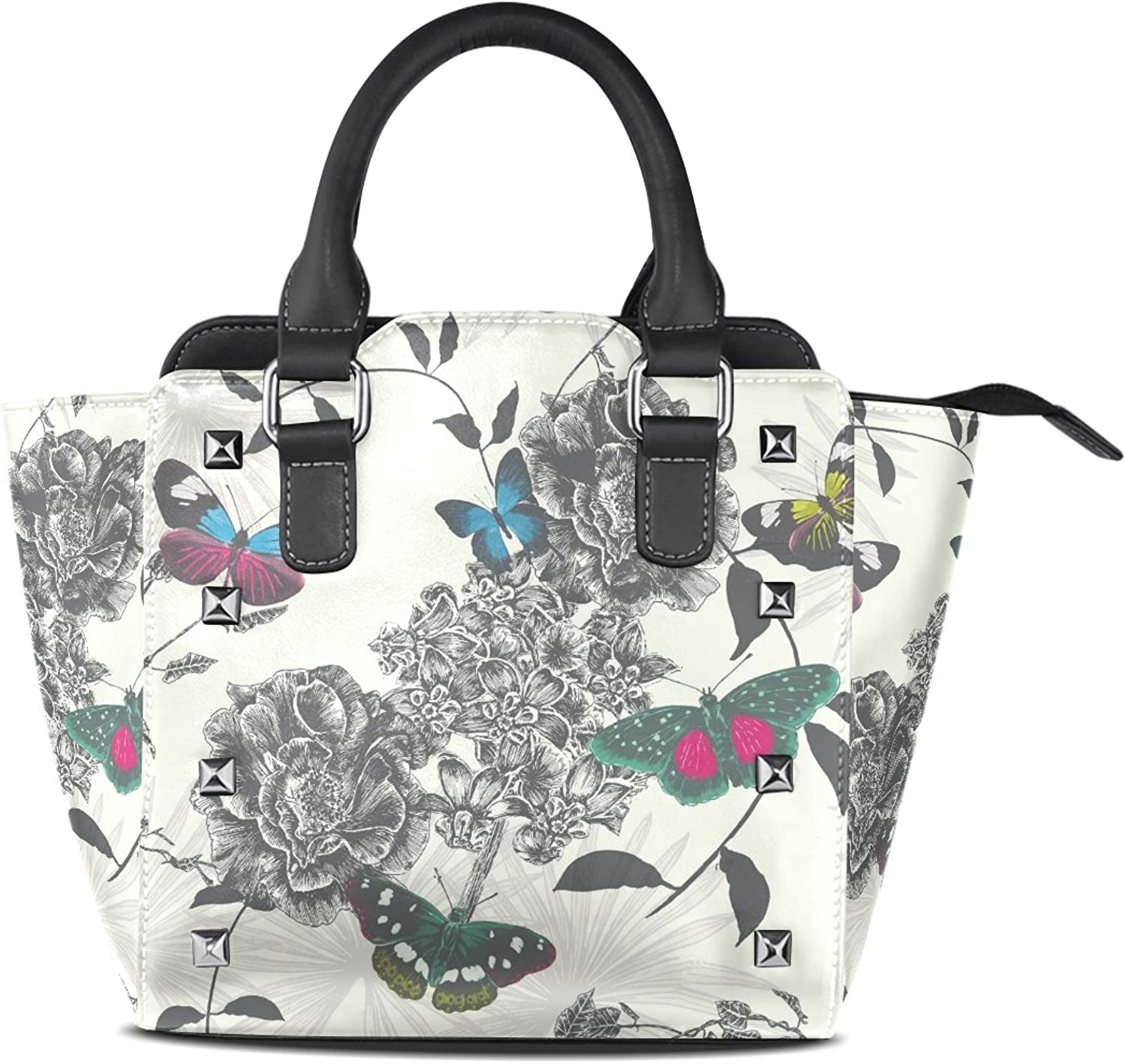 Sunlome Retro Floral Butterfly Print Women's Leather Tote Shoulder Bags Handbags
