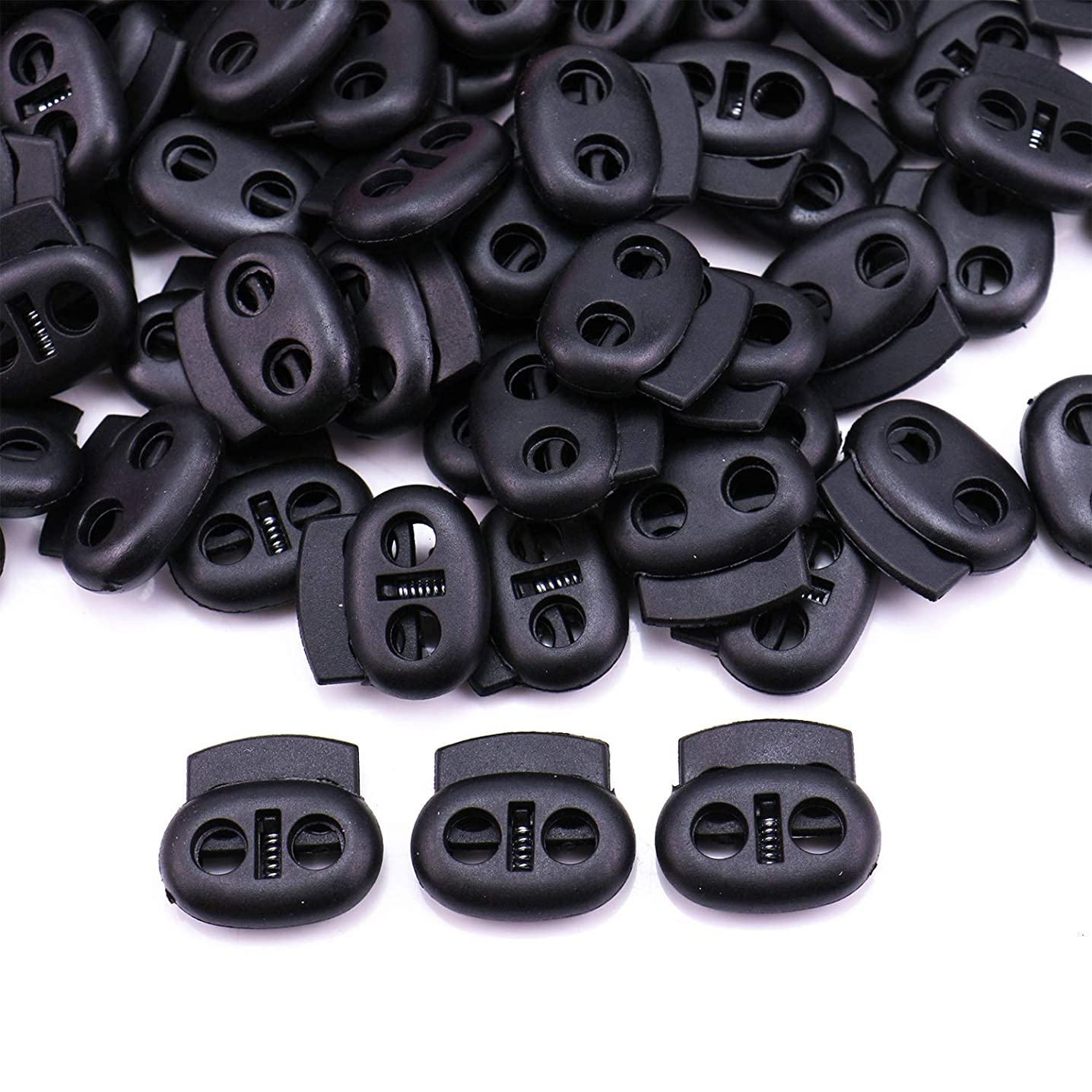 Monrocco 100Pcs Plastic Cord Lock Double Hole Oval Cord Locks End Spring Loaded Round Toggle Clip Stopper Adjuster Fastener (Black)