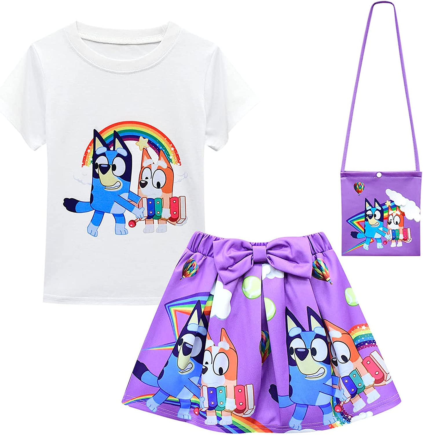 Fleeboys 3pcs Girls Skirt Sets T Shirt Top Bowknot Skirt with Bag Outfits: Clothing, Shoes & Jewelry