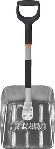 Fiskars Pala ligera para nieve para el coche, Longitud: 71 cm, Aluminio, Negro/Plata, 1000740