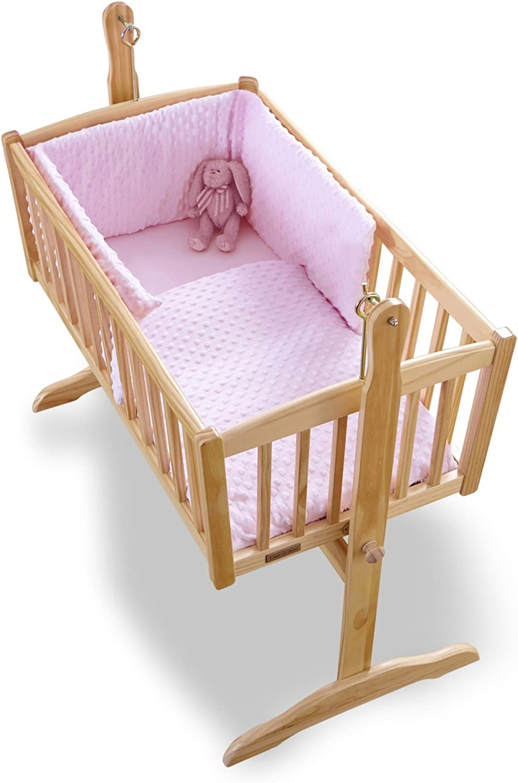Clair de Lune Dimple Rocking Crib Cradle Quilt and Bumper Set (Pink)