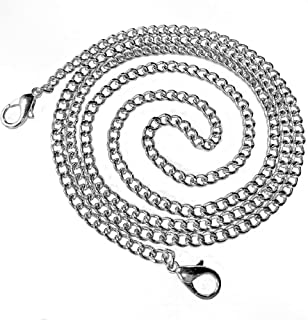 Flat Chain Strap Bag Replacement Metal Strap Handbag Chains Purse Sturdy Metal Buckles Silver