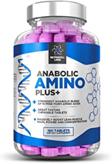 Anabolic Amino Plus : Premium 15 Amino Acid Blend with BCAA (180 Raspberry Chewable Tablets)