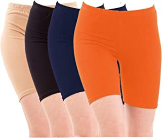Pixie Biowashed Cycling Shorts for Girls/Women/Ladies Combo (Pack of 4) Beige, Black, NavyBlue, Orange - Free Size