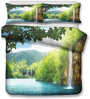 HNHDDZ Ropa de Cama Verde Bosque Corriente de Agua Cascada Planta Tropical Natural Arboles Paisaje Funda nórdica con Cremallera (Estilo 3,220x240 cm - Cama 150 cm)