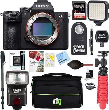 Sony a7R III 42.4MP Full-Frame Mirrorless Interchangeable Lens Camera Body (ILCE7RM3/B) + 64GB Memory & Flash a7RIII Accessory Bundle