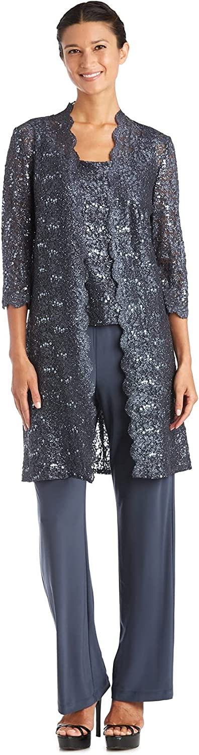 R&M Richards Women's 3 PCE Laced Duster Jacket Shell and Solid Pant