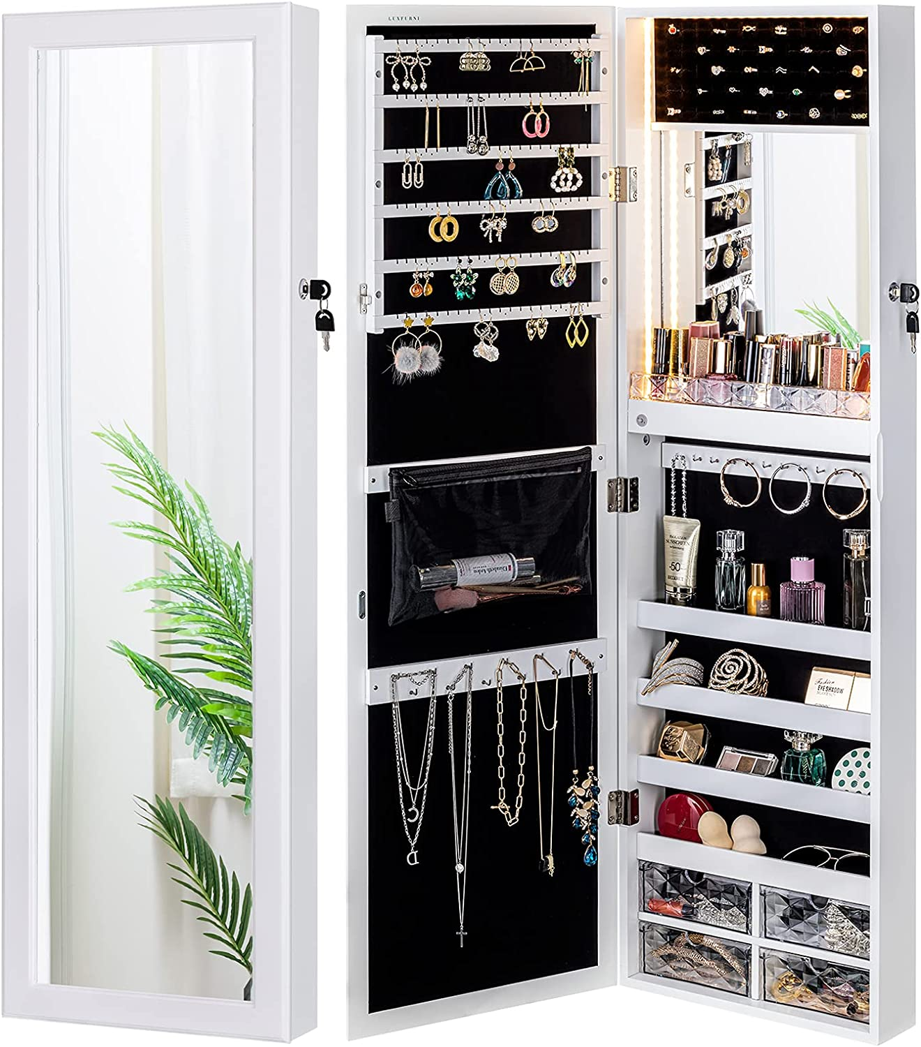 LUXFURNI Mirror Jewelry Cabinet 79 LED Lights Wall-Mount/ Door-Hanging Armoire, Lockable Storage Organizer w/ Drawers (White) : Clothing, Shoes & Jewelry