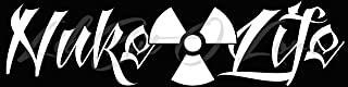 Nuke Life Vinyl Decal with Radiology Symbol Sticker Nuclear Power Plant Themed Decal (White)