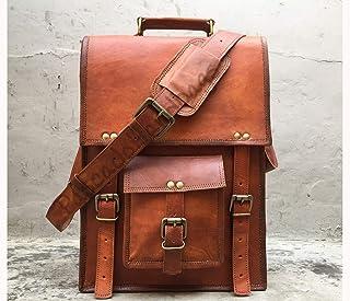 Pascado Vinatge handmade leather messenger laptop bag 15 inch crossbody shoulder satchel ipad bag mens womens Vertical