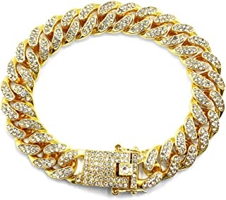 12mm Gold Plated Hip Hop Iced Out CZ Lab Diamond Miami Cuban Link Chain Bracelet for Men and Women