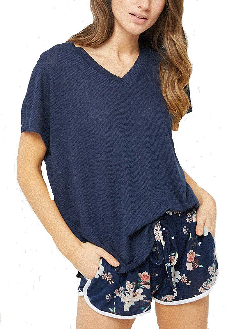 Rue 21 Waffle Knit Slouch Top (Navy Blue) (Girls Large)