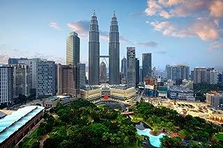 Kuala Lumpur City Skyline Petronas Twin Towers Laminated Dry Erase Sign Poster 18x12