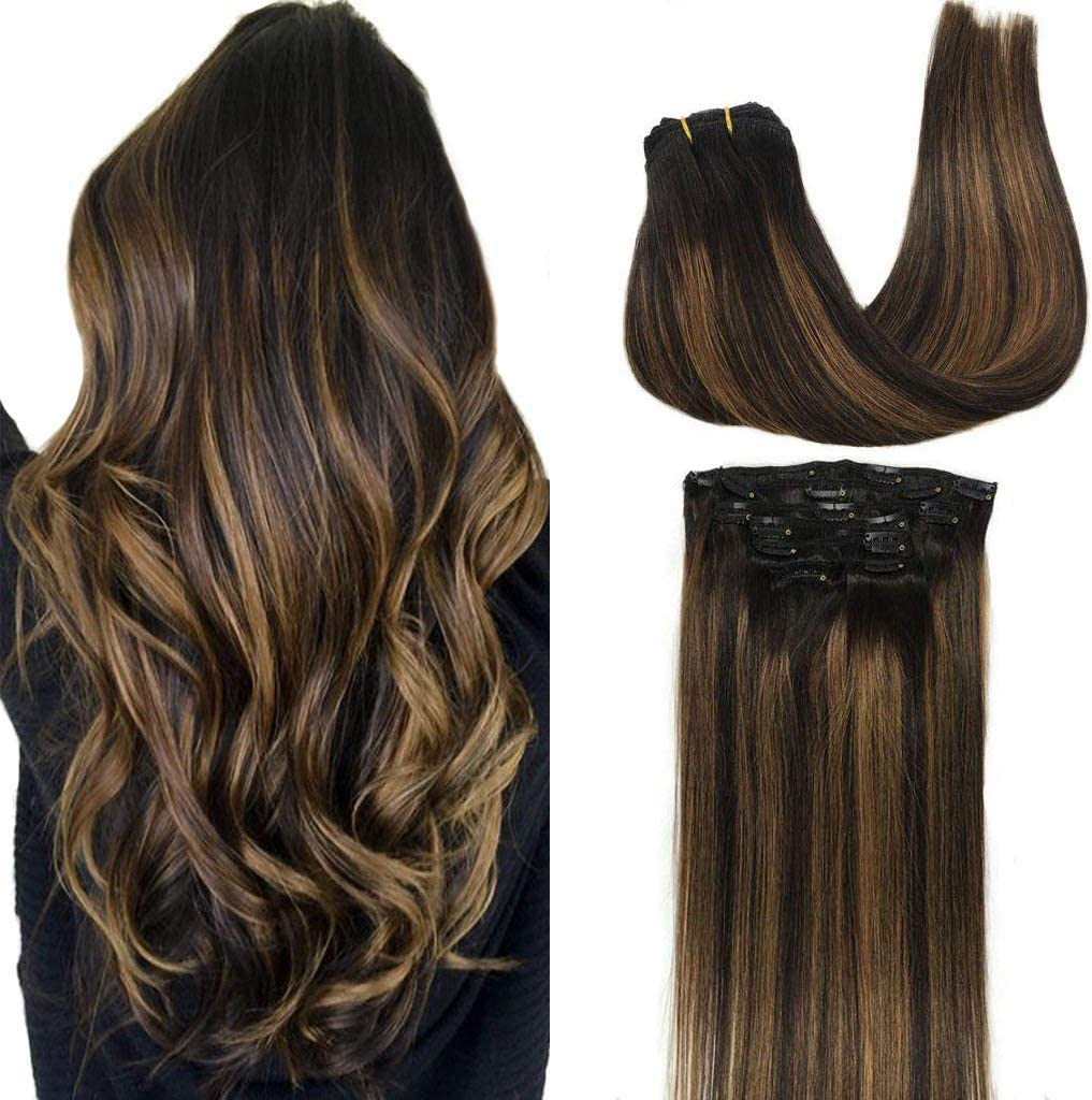Googoo Clip in Hair extensions Ombre Black to Light Brown Balayage Human  Hair Extensions Clip in Remy Hair Extensions Real Human Hair 18pcs 18g  18inch