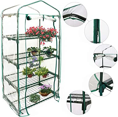 "Mini Greenhouse, 4 Tier - 27"" x 20"" x 61"" - Small Plant Greenhouses, Warm Garden Household Plant Cover Garden Green House for Indoor Outdoor (Without Iron Stand)"