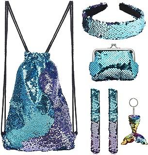 Mermaid Reversible Sequin Drawstring Backpack for Kids Girls with Bonus Slap Bracelet &Purses & Headband & Keychain Set