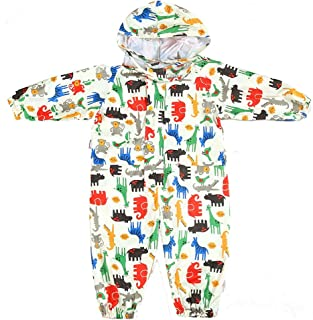 Toddler Rain Suit with Hood Waterproof Coverall Kids Baby One Piece Rainsuit Outdoors Rain Wear 1-7 Years