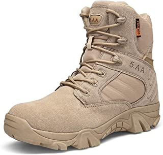 Suetar High top Leather Military Boots Outdoor Tactical Hiking Shoes Durable Non-Slip and Water Resistant