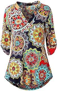 Jojckmen Casual Loose V-Neck Half Sleeve Floral Pullover Women T-Shirts Blouse Top