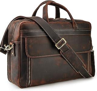 Vintage Genuine Leather Briefcase for Men 17 Inch Laptop Computer Case Business Travel Work Messenger Cross Body Shoulder Bag