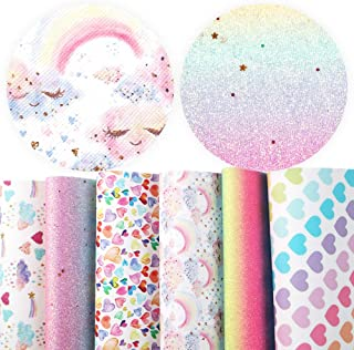 David accessories Rainbow Hearts Superfine Glitter Printed Faux Leather Sheets 6 Pcs 7.8