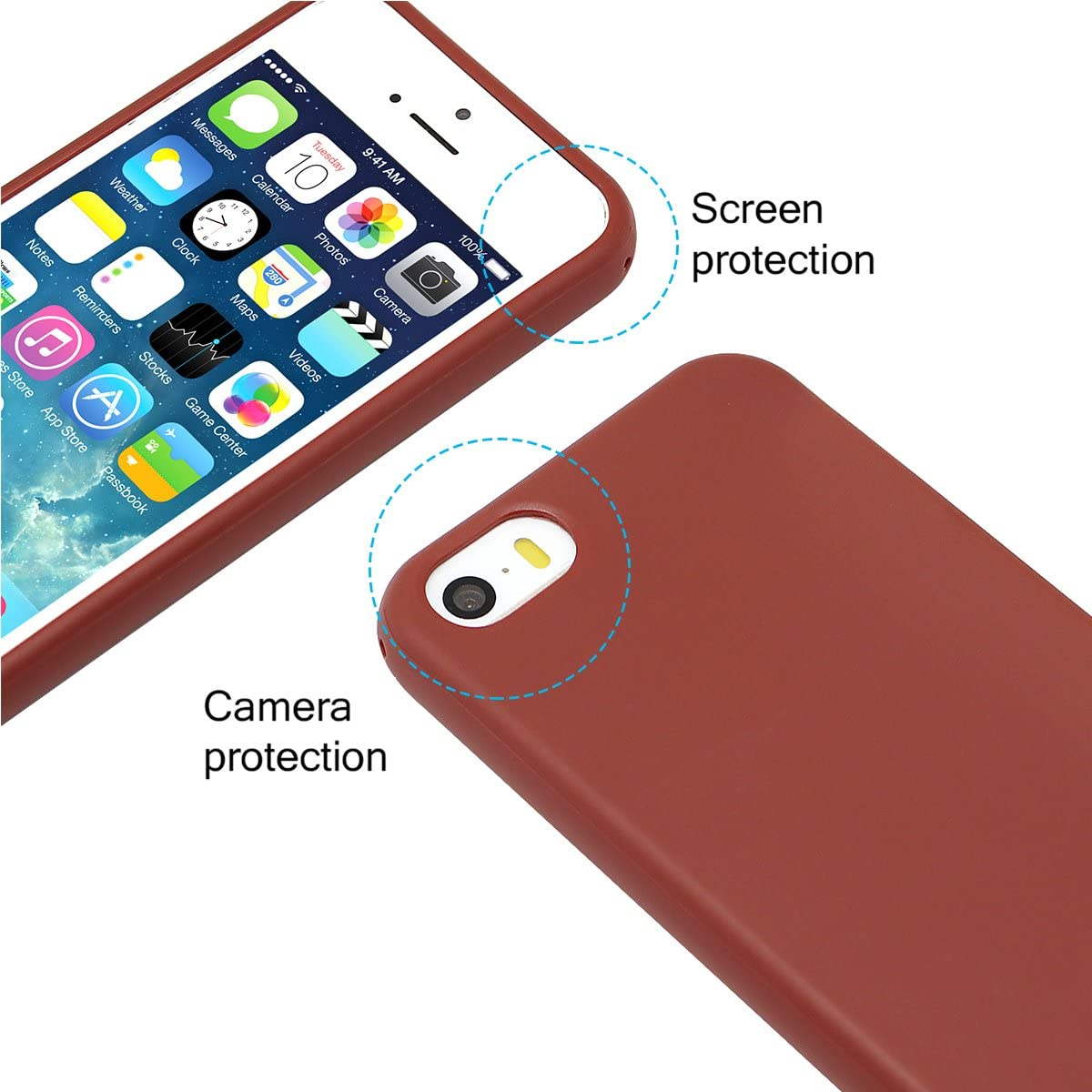 MUNDULEA Compatible iPhone SE (2016 Edition)/iPhone 5/iPhone 5s Case,Shockproof TPU Ptotective Cover Compatible iPhone 5s (Brown)