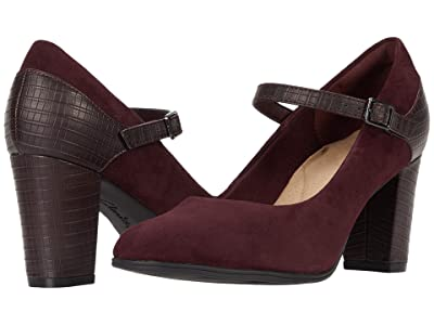 Clarks Alayna Shine (Burgundy Suede/Synthetic Combination) Women