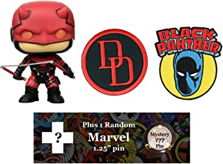 Spacepositive Marvel Heroes Bundle - Funko POP! Figure, Patches, and Pin (Daredevil)