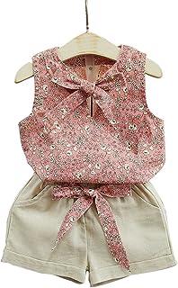 OULII Baby Girls Chaleco Floral sin Mangas Tops Lindos con Bowknot y Pantalones Cortos Conjunto de Ropa con Talla 7 (Caqui...