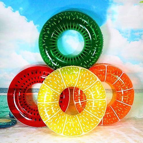 QJJML Aufblasbare Schwimmring des Aufblasbaren Fruchtschwimmringberg-Erwachsenens Regenbogen-Kreises des Sommers PVCs