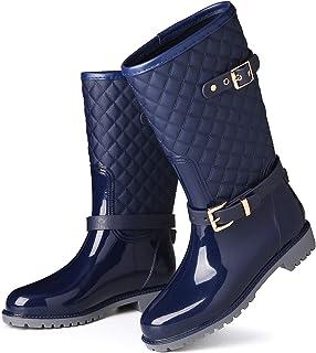 gracosy Botas de Lluvia Mujer Alta Goma Agua Botas al Aire Libre Moda Impermeable Lingge Zapatos de Jardín Wellington Boot...