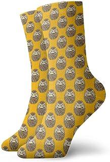 Calcetines amarillos con patrón de erizo lindo amarillo Casual divertido para botas de deporte Senderismo Running, 30 cm