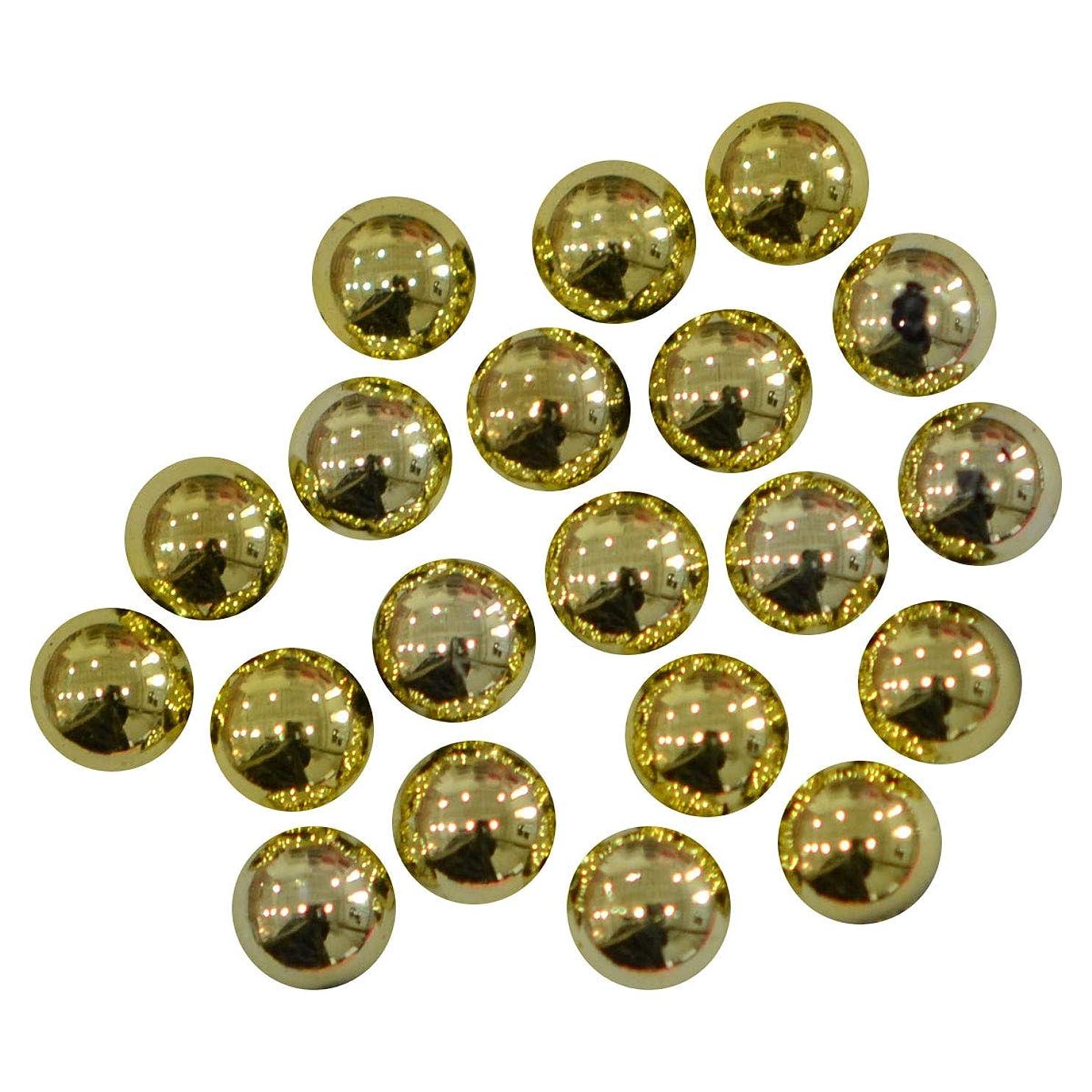 電極またね縫い目ぷっくり半丸ラインストーン 4mm 30粒 / 水滴の様なカットなしラインストーン (ライトゴールド)