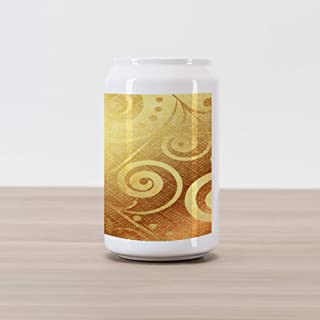 Ambesonne Modern Cola Can Shape Piggy Bank, Vector Canvas Design Floral Swirls Leaves Spring Nature Inspired Image, Ceramic Cola Shaped Coin Box Money Bank for Cash Saving, Earth Yellow and Brown