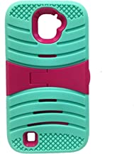 JFXONE U-Stand 2Layer Hybrid Armor Scratch Resistance Case Phone Cover for ZTE Citrine LTE Z716BL Z717VL Z717VC (Teal Pink)