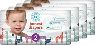 Honest Baby Diapers, Multi Colored Giraffes, Size 2 (160 Count)