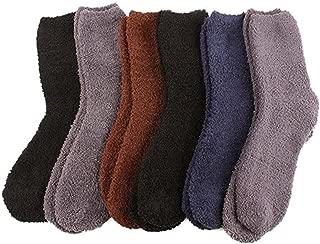 Cozy 6 Pairs Winter Fuzzy Warm Thick Ski Snow Boot Socks Solid Dark Assorted