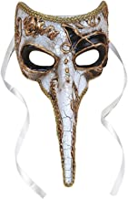 Loftus International Plague Doctor Venetian Long Nose Mask, White W Gold & Black Accents, 9